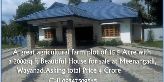 Land For Sale in Wayanad,15.5 Acre Land with a 2000sq.ft House at Meenangadi