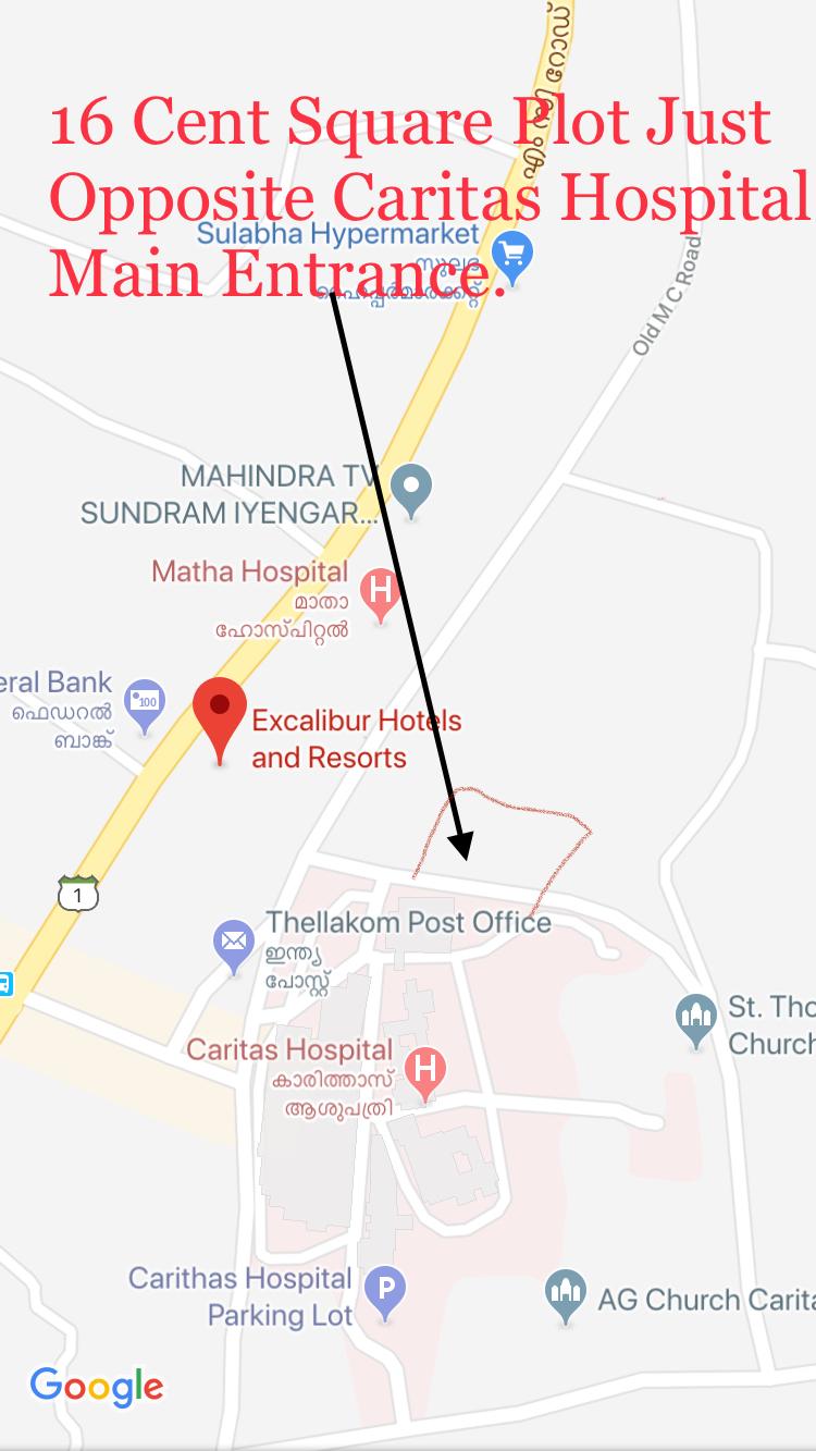 16 Cents Square Plot for sale ta Caritas Hospital , Kottayam