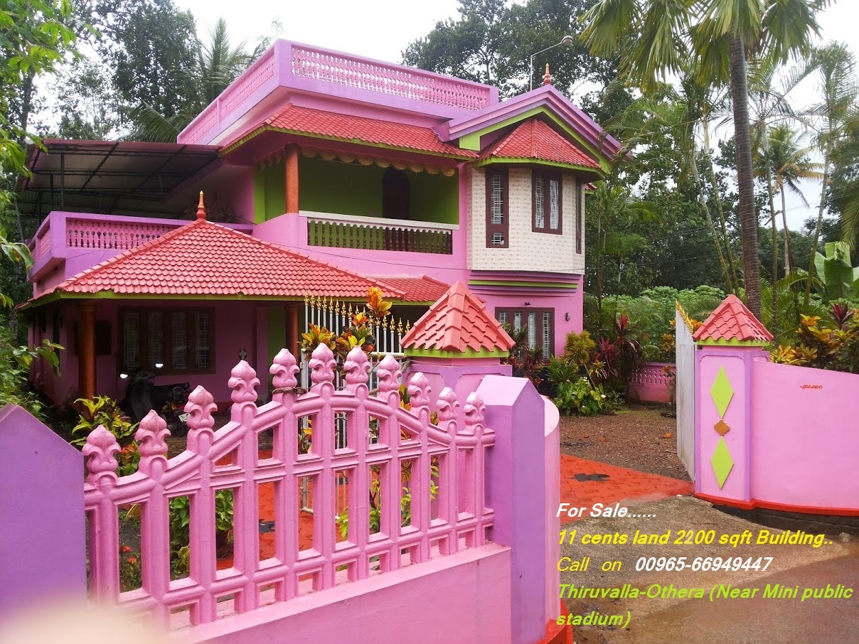 Two story(2200 sq FT ) and 11 cents Land For sale (60 Lakh only) near Thiruvalla