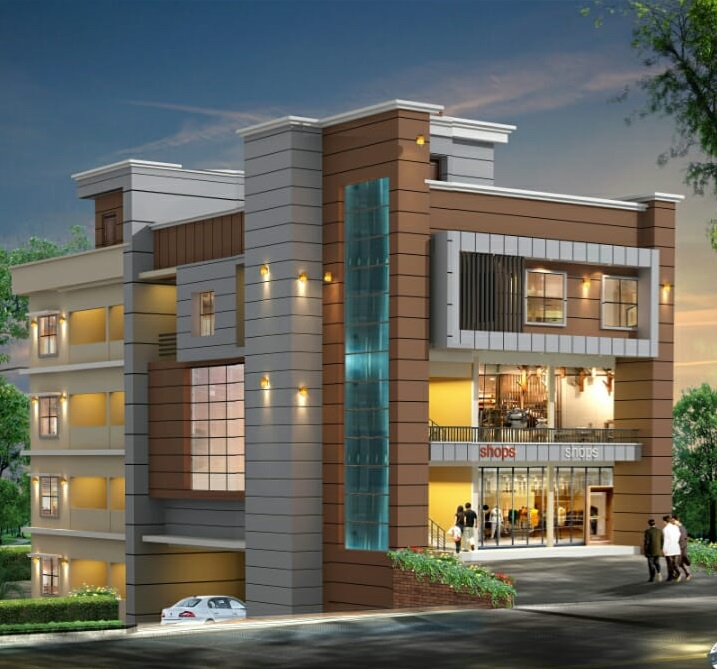 Building with 6 nos 2 bhk apartments, 2 commercial room, Car parking, 4 floors